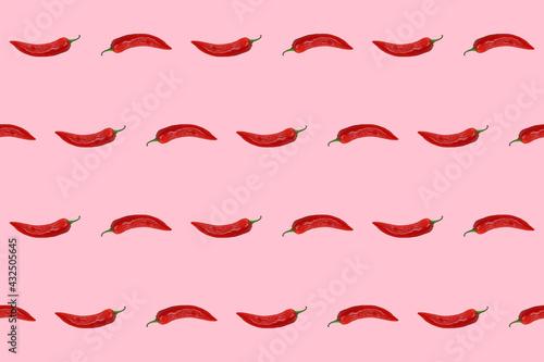 Obraz na plátně Red hot chili peppers on pink background, seamless pattern