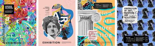 Art posters for the exhibition of painting, sculpture and music. Vector illustration of abstract background, roman column, greek sculpture, chess horse pattern for magazine or cover