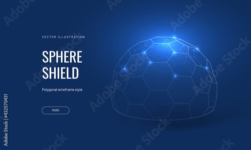 Foto Dome shield geometric vector illustration on a blue background