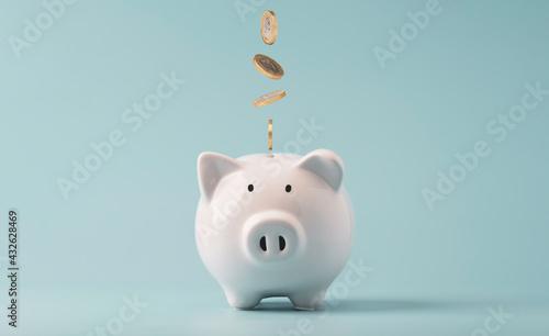 Fotografija Coins falling to white piggy saving ,  Financial and money deposit concept