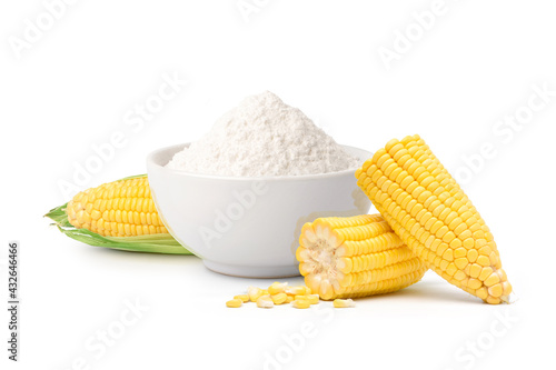 Corn starch with fresh corn isolated on white background. Fotobehang