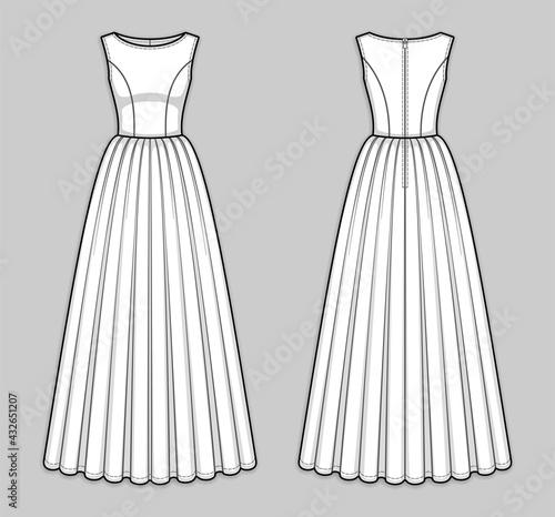 Floor-length sleeveless bodice dress with boat neckline, seam at waist, back zip closure, gathered skirt Fototapete
