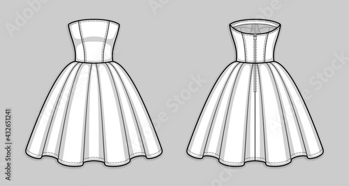 Cuadros en Lienzo Knee-length corset bodice dress with strapless straight across neckline, seam at waist, back zip closure, flared skirt with pleats