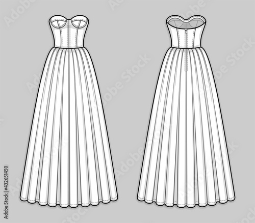 Foto Floor-length corset bodice dress with panel lines, strapless neckline, cups, seam at waist, back zip clasp, flared skirt with pleats