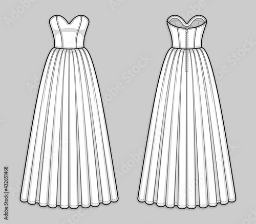 Canvas Print Floor-length corset bodice dress with panel lines, strapless sweetheart neckline, seam at waist, back zip closure, flared skirt with pleats