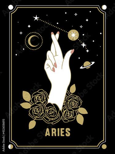 Fotografie, Obraz aries card zodiac horoscope illustration