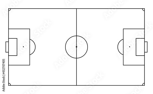 Soccer field in line style. Football pitch. Black outline court and stadium on white background. Icon for football match, league and scheme. Graphic icon for sport area, game and training. Vector