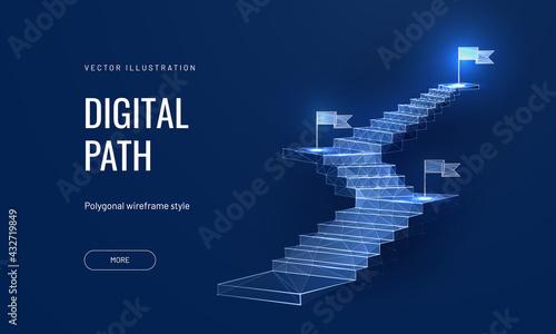 Obraz na plátně The concept of the path to success on a blue background