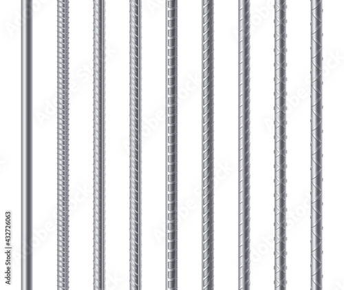 Fotografia Rebars, metal reinforcement steel rods isolated on white background