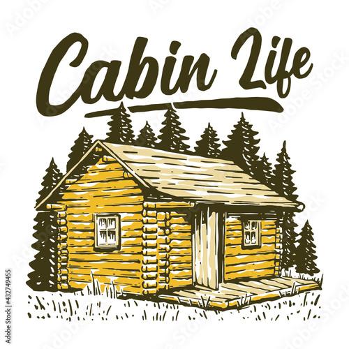Canvas Log cabin illustration