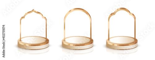 Obraz na plátně 3d luxury golden  podium with islamic frame for display product decorations elem