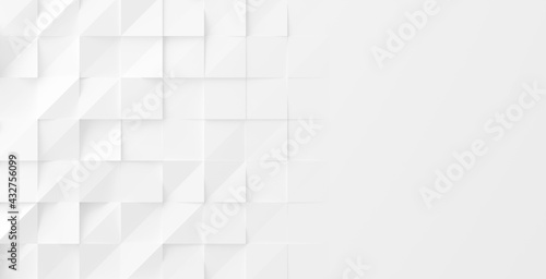 Random rotated white cube boxes block background wallpaper banner with copy space