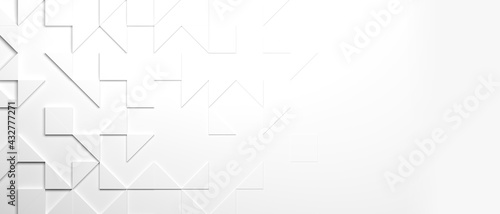 white triangles background wallpaper banner with copy space