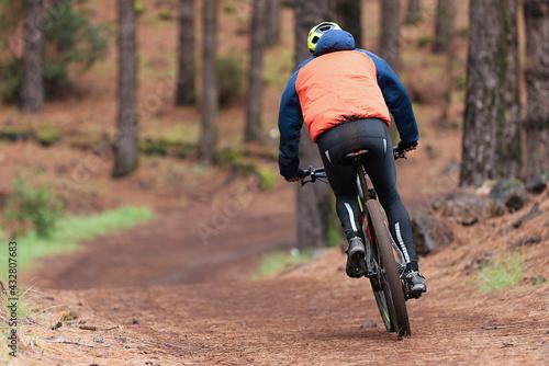 Mountain biking man riding on bike in summer mountains forest landscape Fototapet