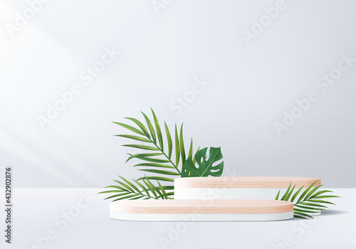 3d gray background product display wood podium with leaf geometric platform. grey background vector 3d render with podium. wood stand to show cosmetic product. Stage showcase on pedestal white display