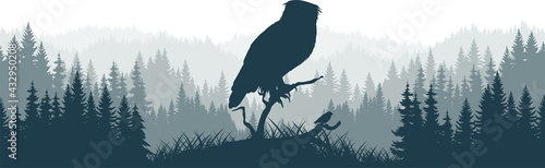 Tableau sur Toile vector mountains forest woodland background texture seamless pattern with eagle