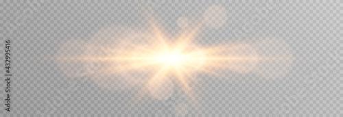 Fototapeta Vector golden light with glare