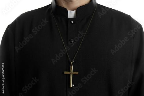 Fotografia Priest with cross on white background, closeup