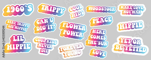 Obraz na plátně Hippie quotes collection