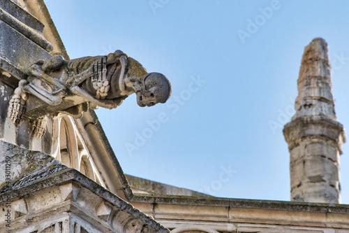 Detalle gárgola representando esqueleto, calavera y muerte en la catedral gótica de Palencia, España