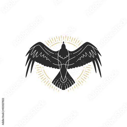 Wallpaper Mural Mystic flying raven hand drawn silhouette vector illustration