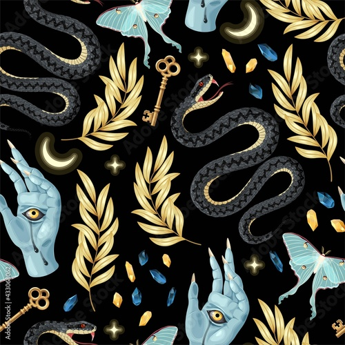 Fotografie, Obraz Seamless magic pattern with supply for witchcraft