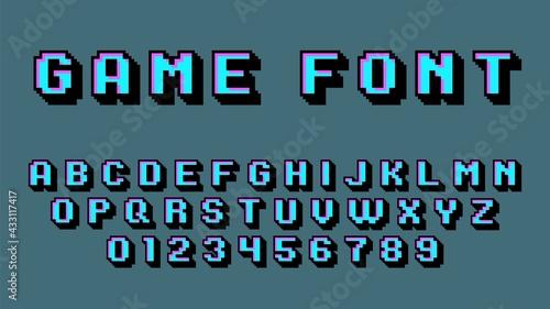 Foto Pixel art alphabet