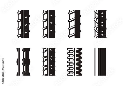 Fotografia set of rebar icons vector