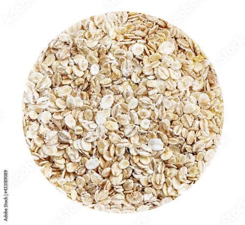 Photographie Organic barley flakes isolated on white circle background.