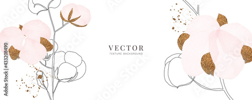 Foto minimal background in pink cotton flowers and tropical summer leaf with golden m