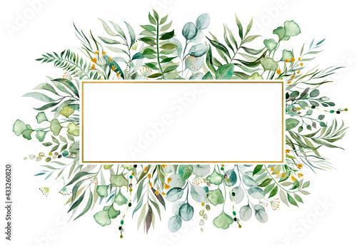 Fotografie, Tablou Watercolor botanical green leaves frame illustration