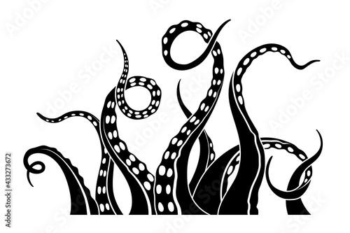 Foto Black silhouette of octopus tentacles