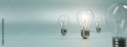 Photographie bulb on a blue background. 3D rendering.