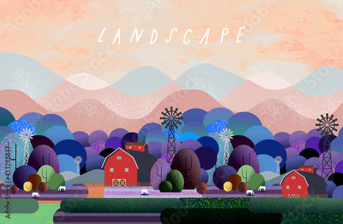 Nature and landscape. Vector illustration of trees, forest, mountains, flowers, plants, houses, field, farm and village. Picture for background, card or cover