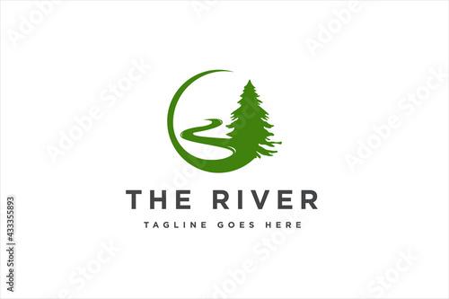 Tableau sur Toile Landscape River Creek Logo Design, Vector Nature Brand Logo