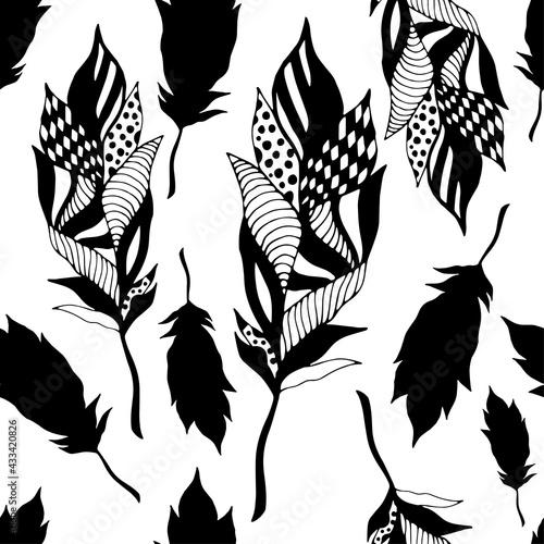 Obraz na płótnie Czarno białe pióra