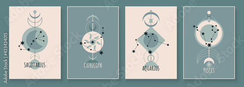 Photo Abstract art with zodiac celestial sign and constellation