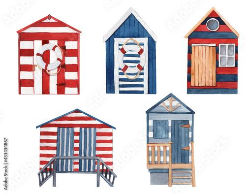 Fotografia, Obraz Watercolor hand-drawn holiday beach houses.