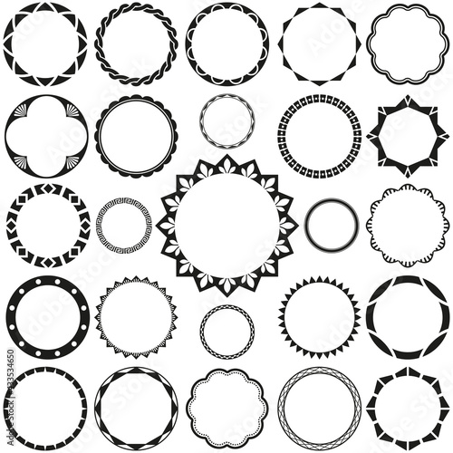 Fototapeta Collection of Round Decorative Border Frames with Clear Background