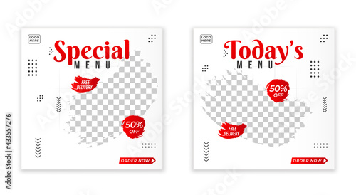 Fotografie, Obraz Social media for food advertising bundle design