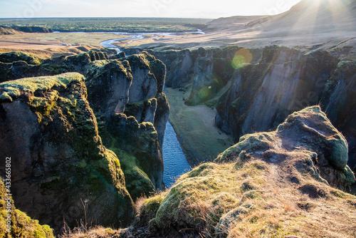 Canvastavla Fjaðrárgljúfur, Iceland mossy green canyon with breathtaking views