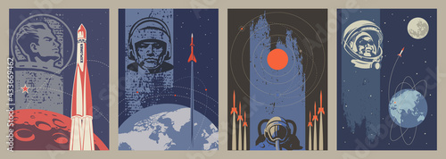 Valokuva Old Soviet Space Propaganda Placards Stylization, Space Rockets, Astronauts, Pla