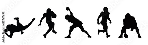 Photo American Football player sports silhouette ,american football player sport action silhouette vector