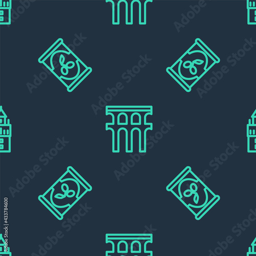 Set line Aqueduct of Segovia, Olives in can and Giralda on seamless pattern Fototapet