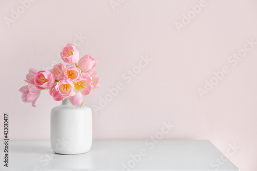 Canvas Print Vase with beautiful tulip flowers on table