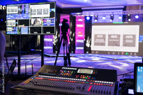 Live internet streaming of business conference meeting,online webinar or seminar via social network broadcast in new normal, covid outbreak,elearning Fototapeta
