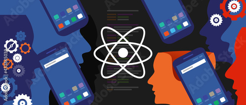 Fotografie, Obraz react native mobile programming coding developer software smartphone cogs line o