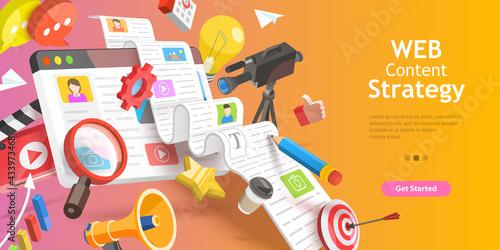 Canvas 3D Vector Conceptual Illustration of Contect Creating Strategy, Digital Marketin