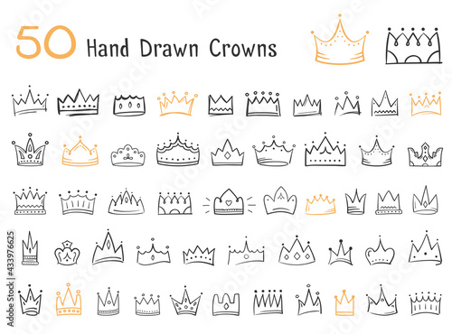 Fotografie, Obraz 50 Hand drawn doodle crowns, king or queen crowns