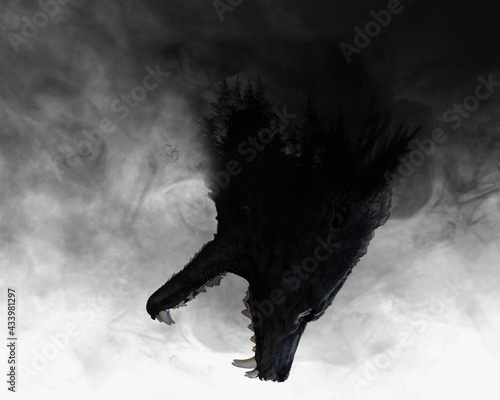 Photo 3d illustration of a Werewolf with double exposure effect revealing forest
